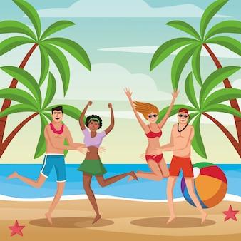 Jóvenes divirtiéndose en dibujos animados de playa
