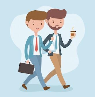 Jóvenes empresarios caminando avatares personajes