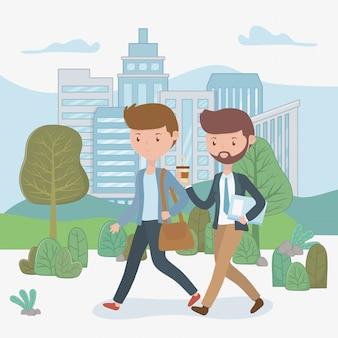Jóvenes empresarios caminando en el parque