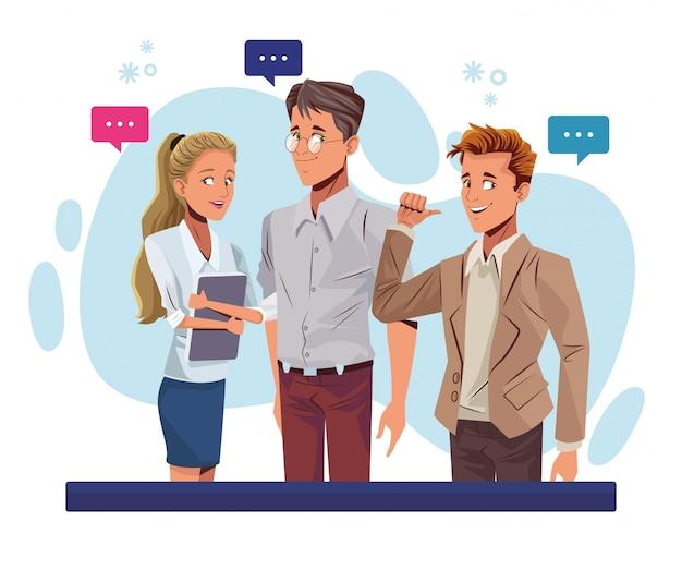 Jóvenes empresarios hablando personajes de trabajadores