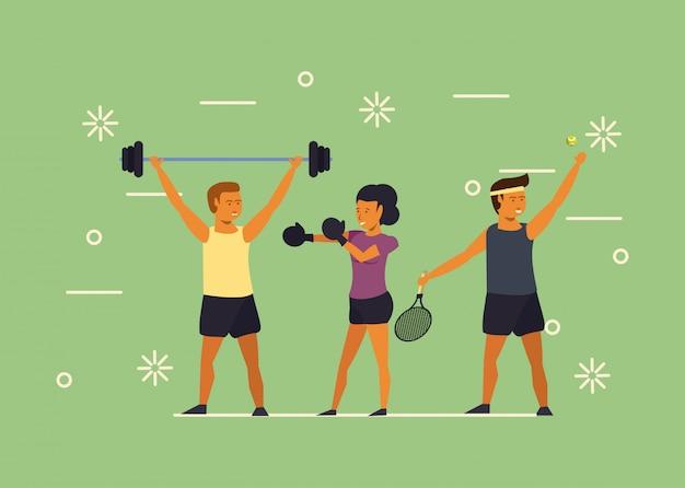 Jóvenes entrenando deportes dibujos animados