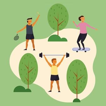 Jóvenes entrenando deportes en el parque