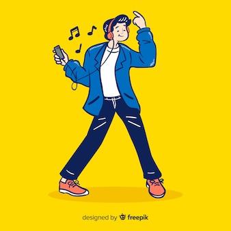 Jóvenes escuchando música en estilo de dibujo coreano