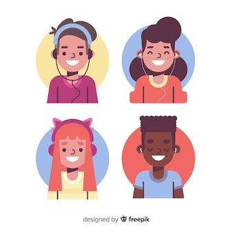 Jóvenes escuchando paquete de música