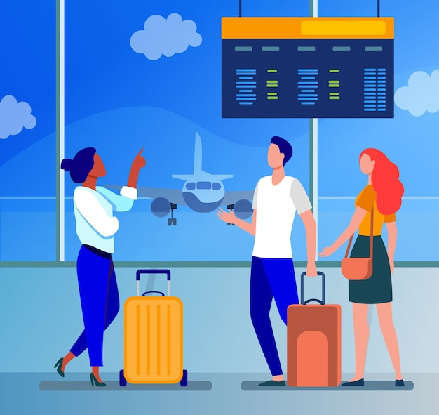 Jóvenes esperando en el aeropuerto para el avión. vuelo, avión, equipaje plano ilustración vectorial. viajes, viajes y vacaciones
