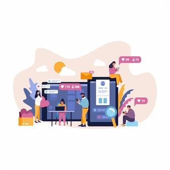 Los jóvenes de estilo plano figura conjunto de iconos de concepto de infografía de comunicaciones de redes sociales en línea.