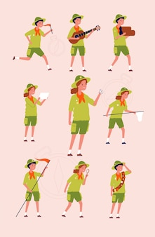 Jóvenes exploradores. niños niños y niñas aventura camping uniformes específicos personajes planos. ilustración scout senderismo, personajes aventura y viajes.