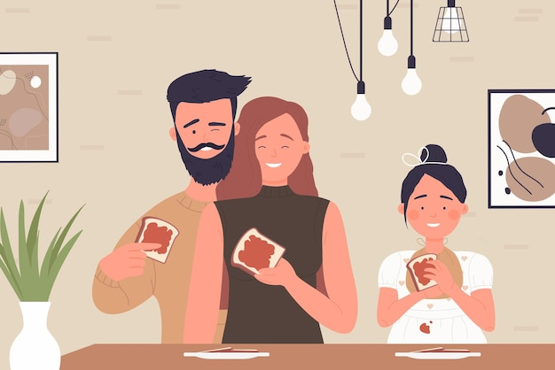 Los jóvenes felices de la familia comen tostadas con mermelada en el desayuno o el almuerzo en el interior de la cocina