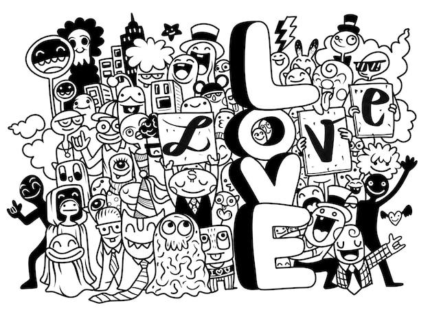 Jóvenes felices con letras amor ilustración en blanco y negro