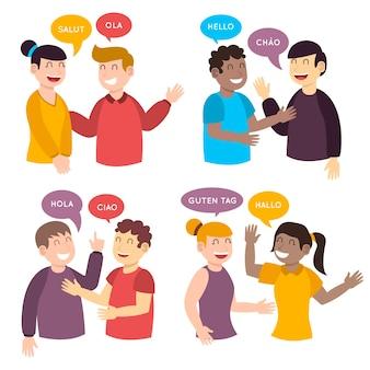 Jóvenes hablando en diferentes idiomas ilustraciones
