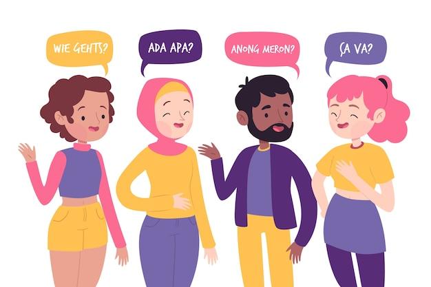 Jóvenes hablando en diferentes idiomas.