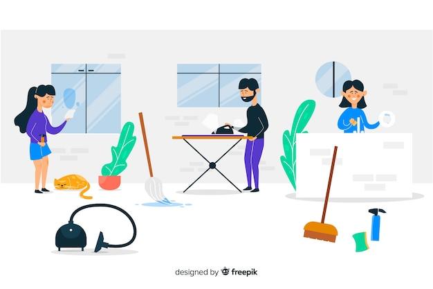Jóvenes haciendo tareas ilustradas
