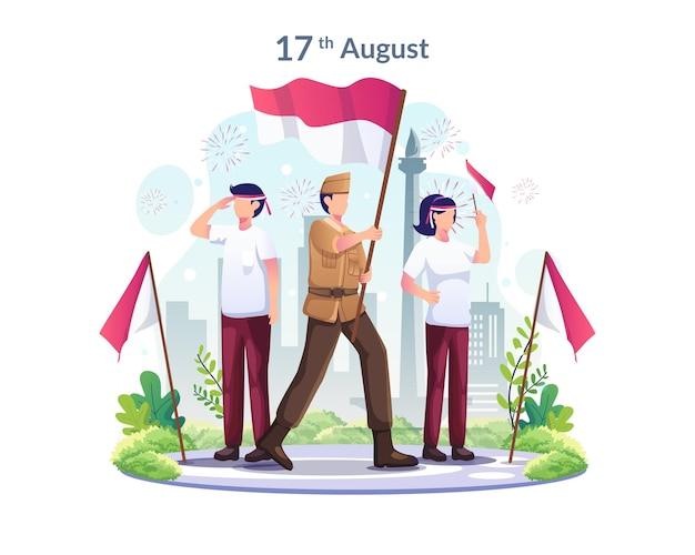Jóvenes y héroes celebran el día de la independencia de indonesia el 17 de agosto ilustración