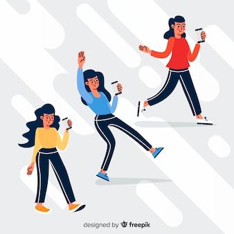 Jóvenes con ilustración de teléfonos inteligentes