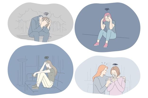Jóvenes infelices tristes recibiendo apoyo de amigos