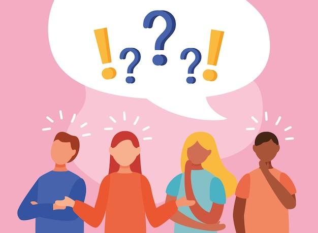 Jóvenes interraciales que dudan con preguntas y signos de exclamación en diseño de ilustración de vector de burbujas de discurso