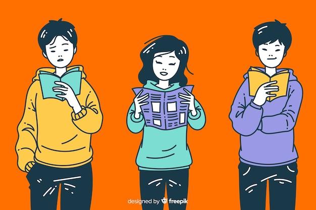 Jóvenes leyendo en estilo de dibujo coreano