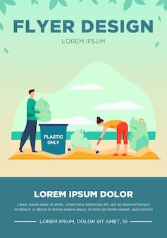 Jóvenes limpiando la playa de la basura. activista, eco, ilustración vectorial plana de plástico. concepto de ecología y medio ambiente