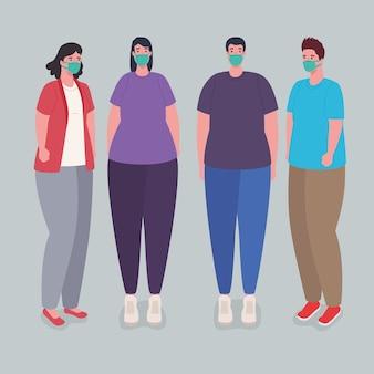 Los jóvenes con máscara protectora médica contra la ilustración covid19