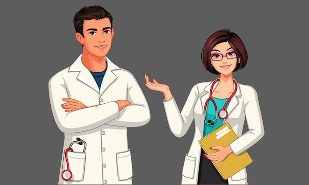 Jóvenes médicos masculinos y femeninos con estetoscopio y delantal en posición de pie ilustración