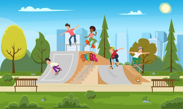 Los jóvenes montan en el parque en el rollerdrome.