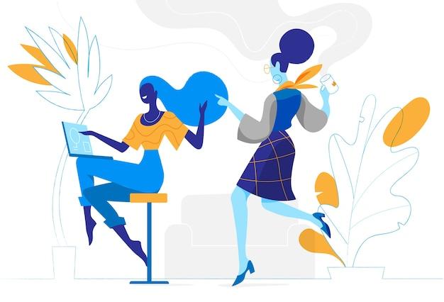 Jóvenes mujeres creativas trabajan juntas en la oficina