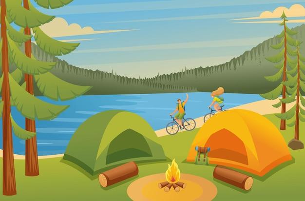 Los jóvenes pasan activamente las vacaciones, ciclismo, camping.