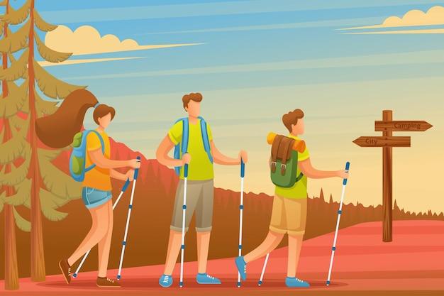 Los jóvenes pasan activamente las vacaciones, marcha nórdica en el bosque