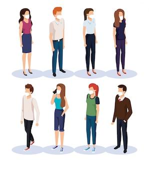 Jóvenes con personajes de avatar de máscara facial