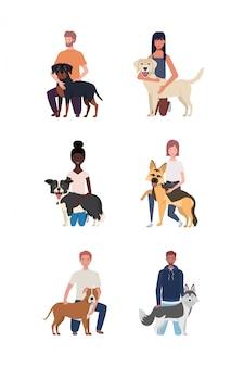 Jóvenes con personajes de mascotas perros lindos