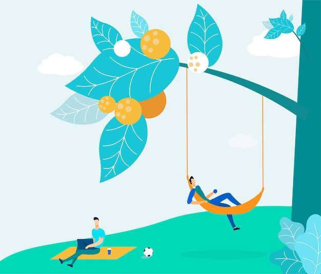 Jóvenes en picnic en parque ilustración