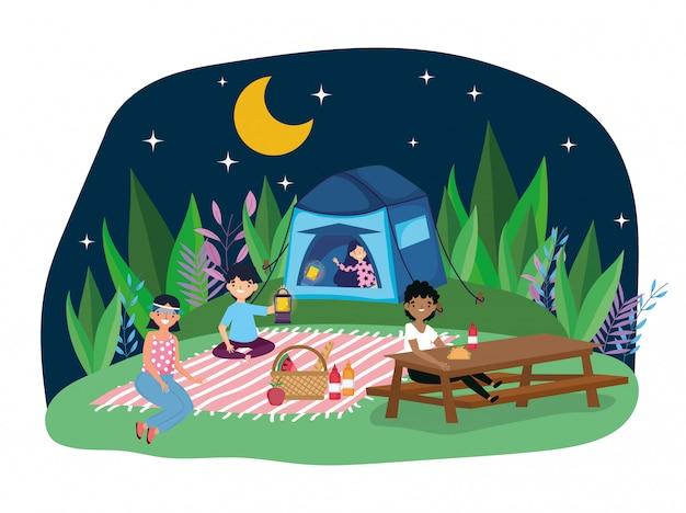Jóvenes picnic en el parque