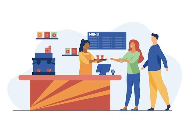 Jóvenes pidiendo café para llevar en la cafetería. barista, chat, ilustración de vector plano de red. servicio y bebidas calientes