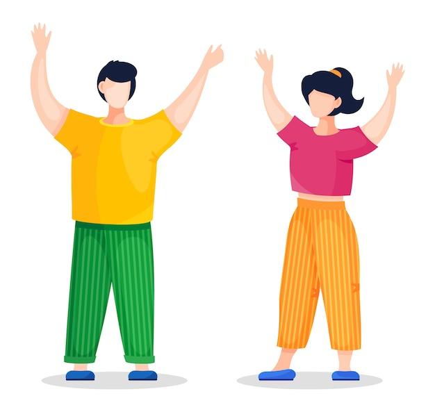 Jóvenes de pie y levantando las manos