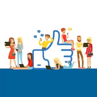 Jóvenes de pie y sentados cerca de gigantes como símbolo, hombre y mujer que utilizan dispositivos móviles para redes sociales o blogs coloridos ilustración