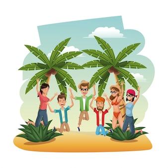 Jóvenes en la playa saltando felicidad