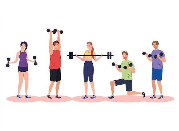 Jóvenes practicando ejercicio, concepto de recreación deportiva