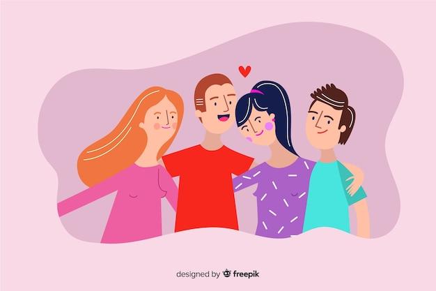 Jóvenes que abrazan juntos fondo