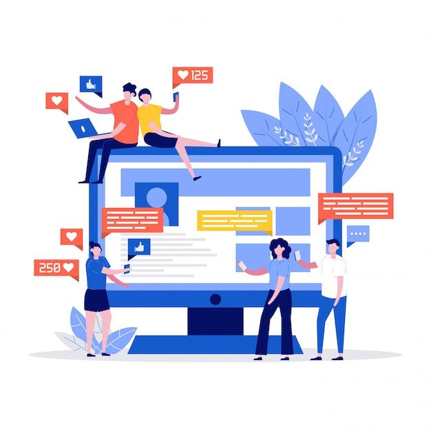 Los jóvenes que usan dispositivos móviles como computadoras portátiles y teléfonos inteligentes para las redes sociales y blogs con una computadora enorme. concepto de marketing y redes sociales.