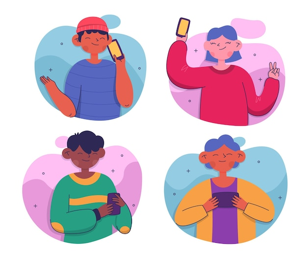 Jóvenes que usan teléfonos inteligentes