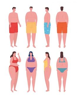 Jóvenes que usan traje de baño, mujeres y hombres con traje de baño, temporada de vacaciones de verano