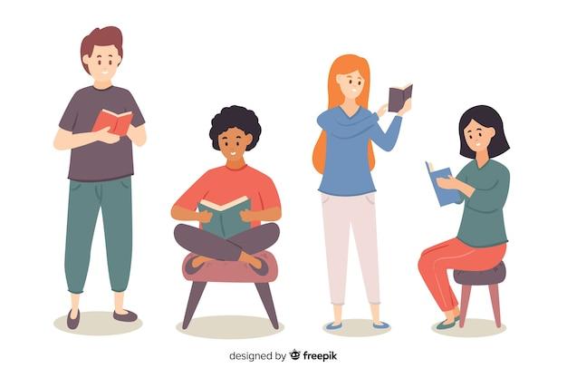 Jóvenes relajándose y leyendo