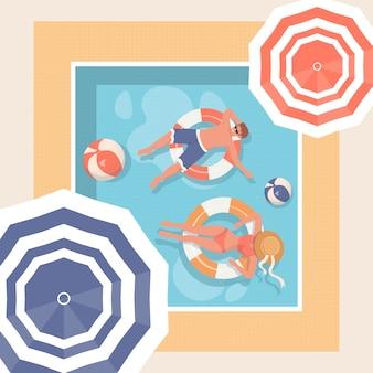 Jóvenes relajándose en la piscina. ilustración de día caluroso de verano