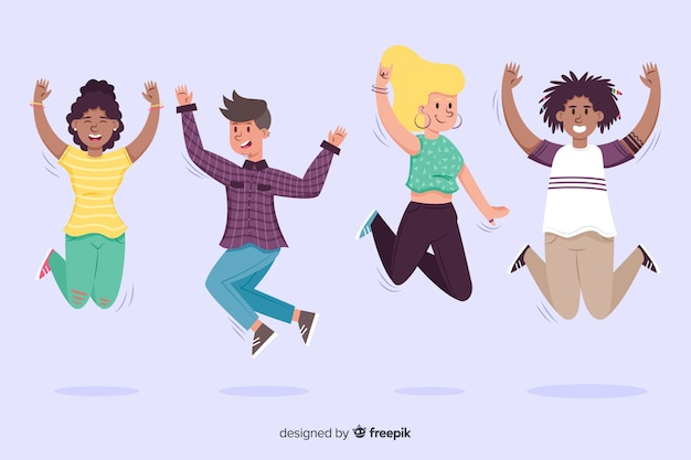 Jóvenes saltando en el aire
