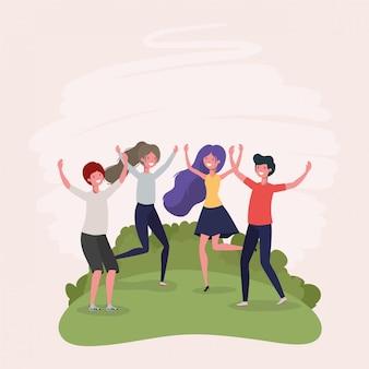 Jóvenes saltando celebrando en el parque personajes.