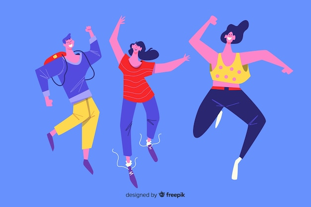 Jóvenes saltando y divirtiéndose