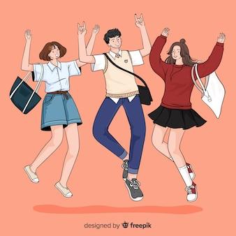 Jóvenes saltando en estilo de dibujo coreano