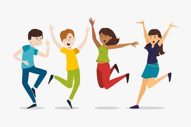 Jóvenes saltando juntos
