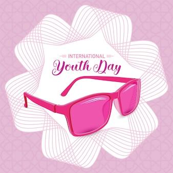 Jóvenes simbólicos con gafas de sol rosas del día internacional de la juventud con fondo de arte lineal