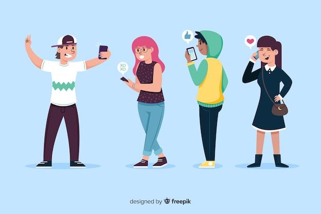Jóvenes con smartphones